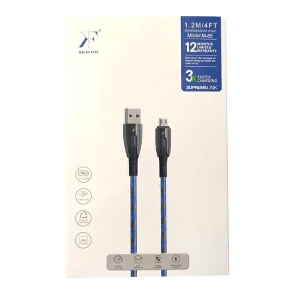 کابل شارژ و دیتا کی اف سنیور Micro USB مدل M-65 12w سوپر فست شارژ